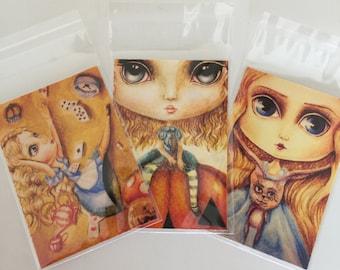 SALE 3 x giclee fine art print's of my original paintings. the alice in wonderland collection. lowbrow, pop-surrealism, fantasy, big eye art