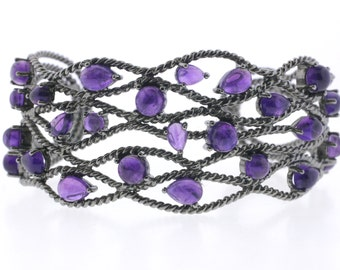 Black rhodium with Amethyst cuff bangle