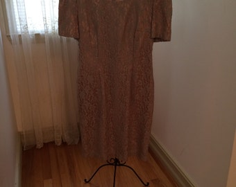 Vintage Sage Green Lace Dress, size 8