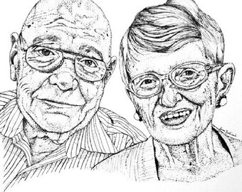 Custom Pen and Ink Couple/Family Portrait