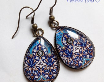 drops earrings * memories of the East * Eastern blue Moroccan mosaic tiles, glass cabochon