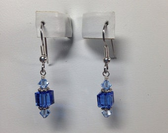 Blue Swarovski Crystal Earrings -SCD046