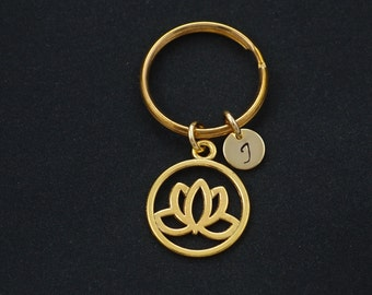 lotus keychain, initial keychain, bridesmaids gifts, gold lotus flower keyring, blooming flower, yoga, best friend gift, christmas gift