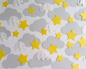 Baby Shower Confetti Christening, Baptism or Birthday Party table, Grey, Yellow and White
