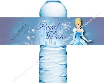 Cinderella Water Bottle Label Printable INSTANT DOWNLOAD- Cinderella Birthday - Cinderella printable - Cinderella Party - Cinderella Label