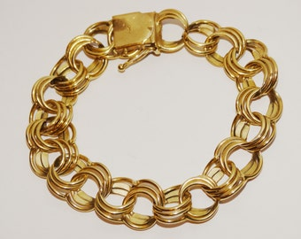 """Vge heavy 14k Yellow Gold Stamped 15mm Wide, 33 grams Multi-Circle Charm 8"""" Bracelet."""
