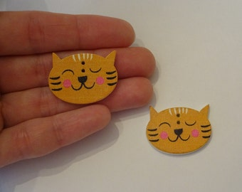 2 pcs big cat heads wooden buttons 22x28x2.5mm scrapbook children crafts two holes