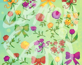 50% OFF Colorful Flower Garden Clip Art  scrapbook supplies, scrapbook supply, garden clip art, clip art flower,