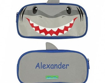 Personalized Grey Shark Pencil Case