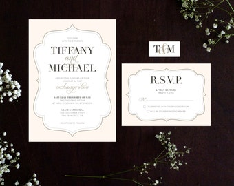 Elegant Printable Wedding Invitation Digital File