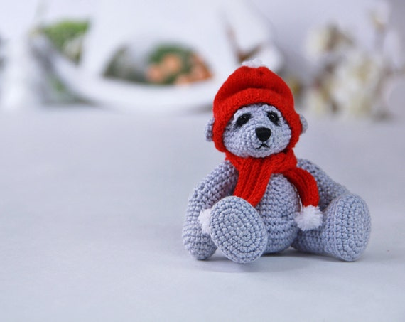 Knitted Teddy Bear Crochet Amigurumi Yarn Bear Artist Knit