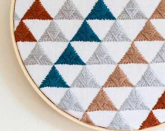 Repeating Triangles Hand Embroidery - 7 inch hoop // Geometric Wall Decor