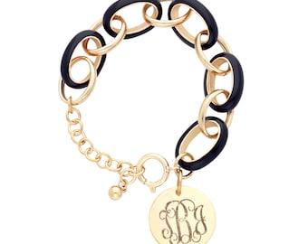 Enamel Link Monogram Bracelet