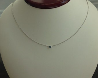 """14k solid white gold and blue sapphire solitaire necklace, """"evil eye"""", 18"""", lobster clasp"""