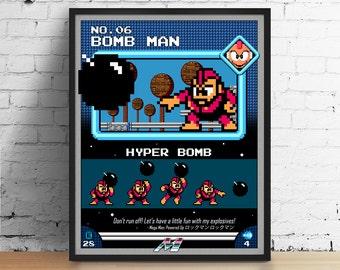 Mega Man poster, Nintendo art, video game poster, classic game print, pixel art, Bomb Man, kids room poster, game room art