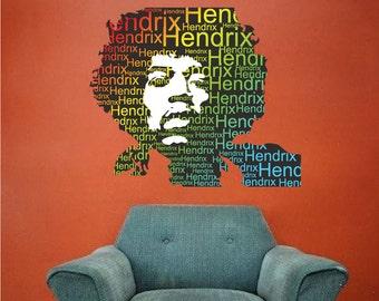 Jimi Hendrix Decal, Jimi Hendrix Decor, Jimi Hendrix Wall Decal, Jimi Hendrix Wall Design, Jimi Hendrix Wall Stickers, Jimi Hendrix Art, a69