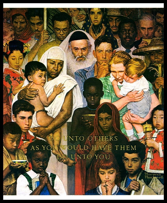 Norman rockwell print the golden rule original for Golden rule painting