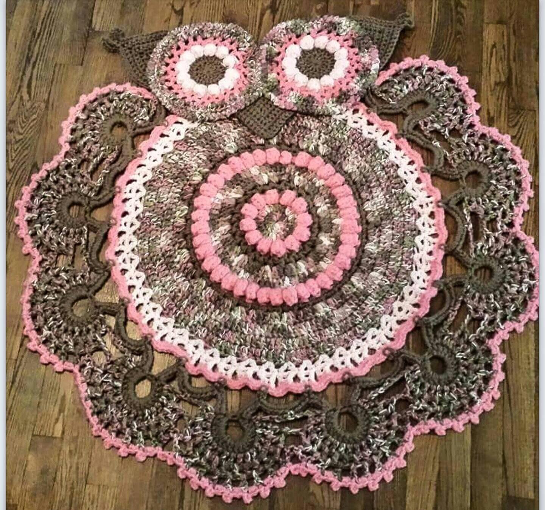Crocheted Owl Rug Owl Nursery Girls Room Decor Nursery
