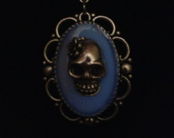 Glow in the Dark Sugar Skull Necklace and Matching Earring Set