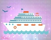 Cruise Ship Ocean Scene Digital Cutting File Set in Svg, Eps, Dxf, and Jpeg