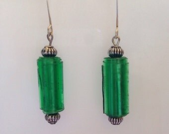 Plastic Green Bottle Up- Cycled Earrings