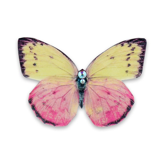 Butterfly Dahlia Brooch, Handmade of Real Leather, Yellow and Pink