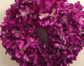 Purple Fuschia rhinestone hydrangea wreath