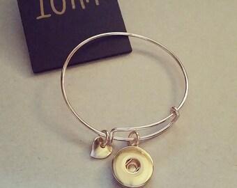 18mm Rose Gold Heart Dangle Bangle - Interchangeable Snap Jewellery