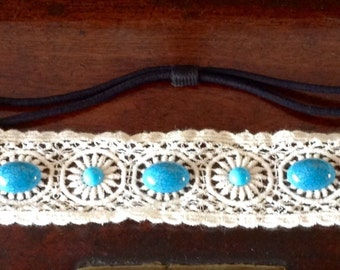 Beautiful Vintage White embroidered  Beaded Hairband