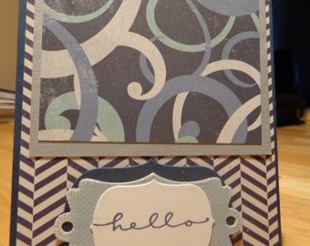 Hello card with shades of blue
