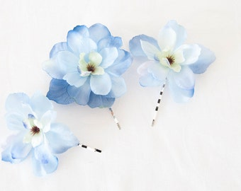 Light Blue Delphinium Hair Pins - set of 3