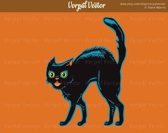 Halloween Clip Art Black Cat, Halloween Clipart, Scary Cat Halloween Digital Download - Instant Download