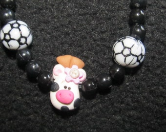 Black & White Cow Beaded necklace