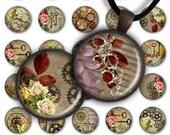 75 % de réduction vente Digital Collage feuille PC045 1 pouce rond cercle 1 pouce 25 mm pendentif imprimable Télécharger fabrication de bijoux - Steampunk Flowers