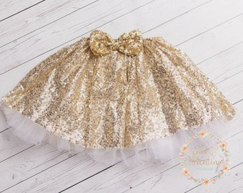 Girls gold skirt, Girls gold Sequin Tutu,gold petti skirt, gold tutu skirt, baby first birthday, sequined tutu skirt, Christmas petti skirt.