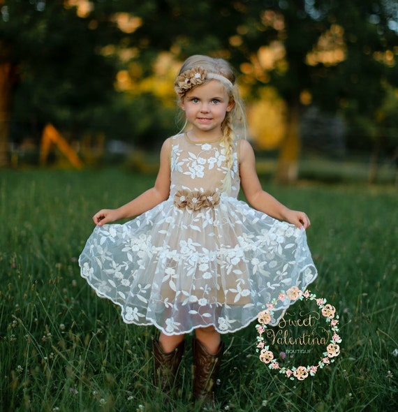 Girls dress lace flower girl dress girls dress girls lace for Country wedding flower girl dresses
