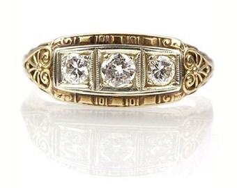 Circa 1920s Art Deco Three Stone Ring