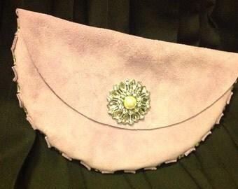 Violet suede clutch purse with rhinestones