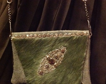 Green suede and hide evening bag with rhinestones