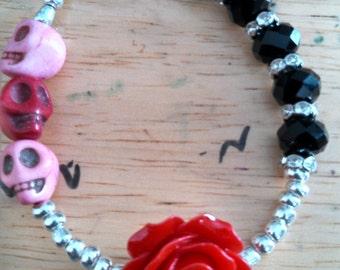 Skulls and roses toggle bracelet