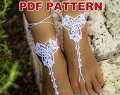 CROCHET PDF PATTERN, white three leaves barefoot sandals pattern #16