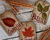 Rustic Fall Hang Tags, Autumn Centerpiece, Rustic Fall Decor, Mason Jar Tags, Grateful, Thankful, Blessed, Primitive Thanksgiving, FFFOFG