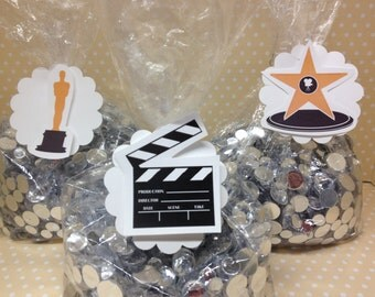 Movie Night, Hollywood, Oscars, Emmy Party Candy or Favor Bags with Tags - Set of 10