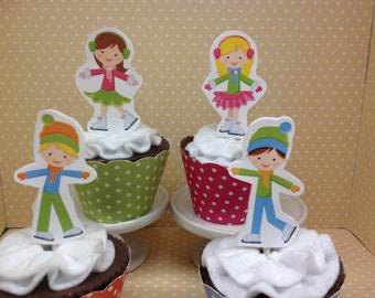 Ice Skating Party Cupcake Topper Decorations - Set of 10