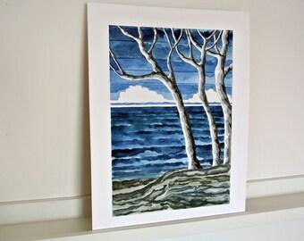 Fehmarn ORIGINAL watercolor painting, baltic sea, cliffs, waves, horizon