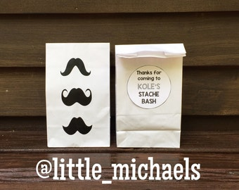 Personalized Mustache Birthday Party Treat Bags, Mustache Favor Bags, Mustache Goody Bags, Mustache Bags (Set of 10)