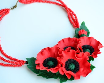 Red Poppy necklace.Poppy earrings ring set. Red necklace. Exclusive accessories. Poppy.  Vyshyvanka.