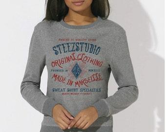 Woman sweatshirt organic fair trade cotton heather grey Print Old School