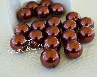20mm acrylic PEARL beads COPPER color