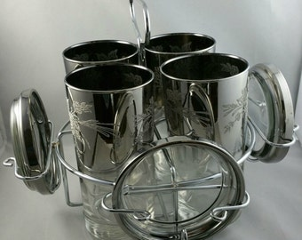 Vintage Highball Glasses in Silver Ombre, Silver Fade Barware Tumblers, 1960s Bar Glass and Caddy Set, MCM Barware, Queens Lusterware
